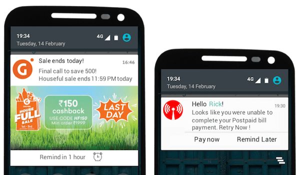 Use of push notifications to convey the information regarding various offers on the eCommerce store.