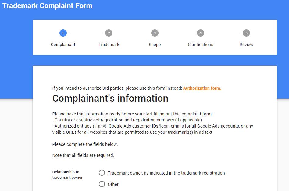 trademark complaint