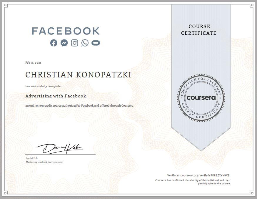 Certificate from Facebook Christian Konopatzki